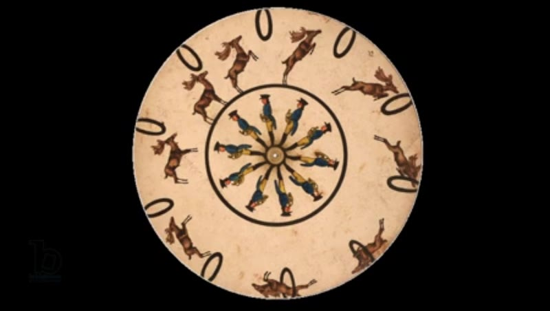 Animated 19th century phenakistoscope with stag jumping through hoops