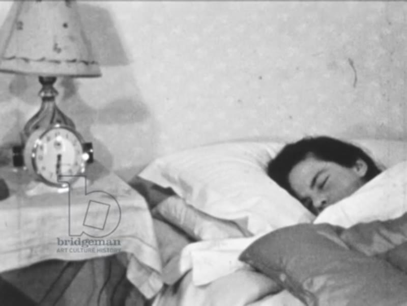 Waking up from sleep, Brattleby, Lincolnshire, UK, c.1952.