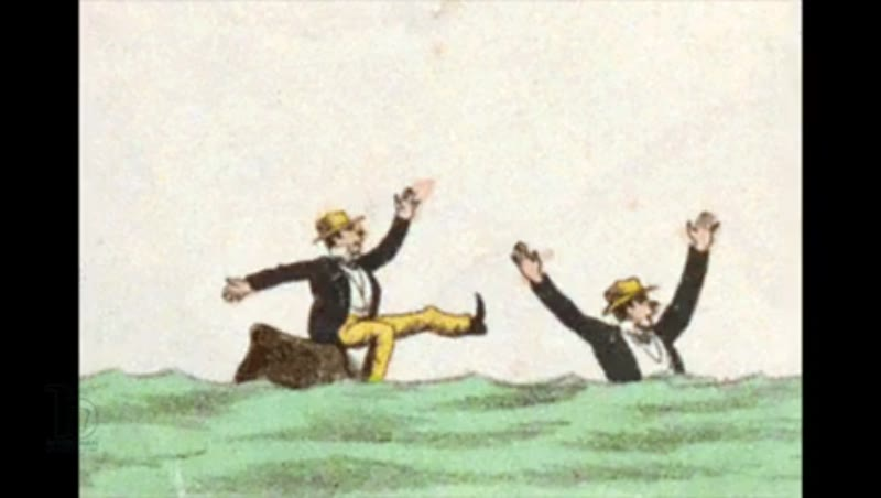 Animated 19th century zoetrope with a figure on a rock sinking beneath the waves