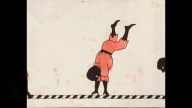Animated 19th century zoetrope with man performing a handspring