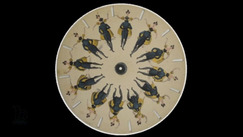 Animated 19th century phenakistoscope with man and woman dancing