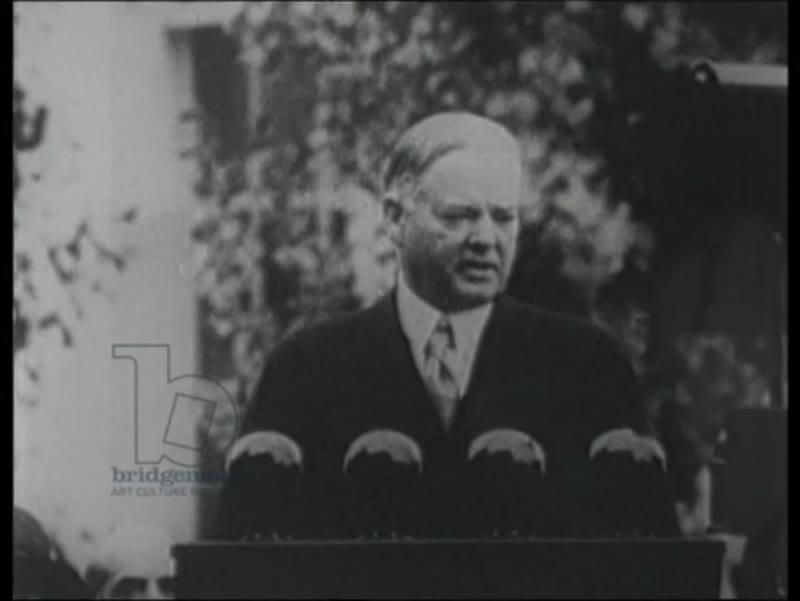 Depression: Hoover on podium, Wall Street crash, 1929