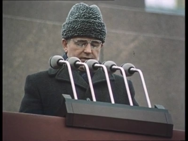 Gorbachev gives a speech from the Mausoleum tribune at Chernenko's funeral, Red Square, March 1985