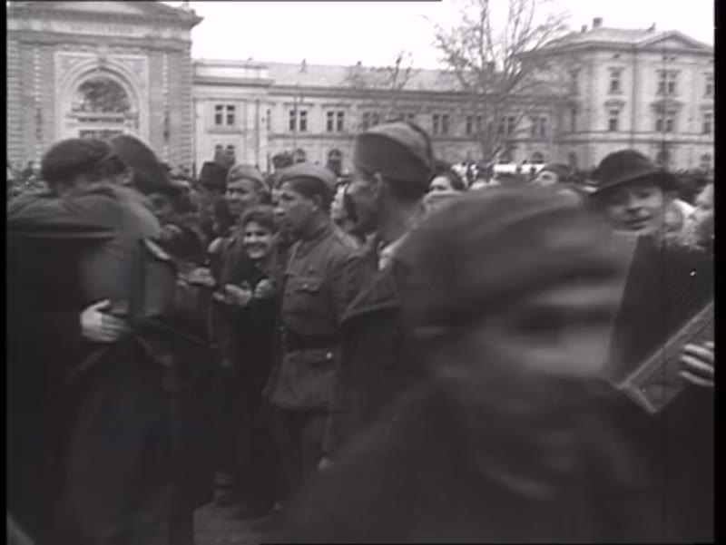 Yugoslavian POWs liberated by the Red Army from Nazi camps, Belgrade, 1945
