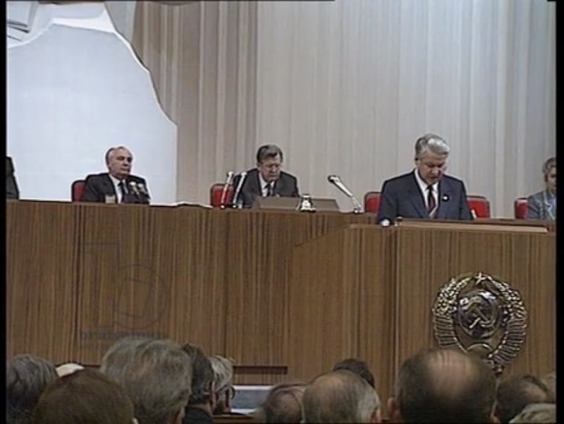 Mikhail Gorbachev seated at the tribune listening to Yeltsin's speech, CPSU Party Congress, Russia, 1990s