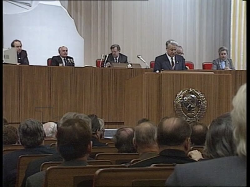 Mikhail Gorbachev's answer to Boris Yeltsin at the 28th and last CPSU Congress, Russia, 2nd-13th July 1990, and Mikhail Gorbachev seated at the tribune listening to Yeltsin's speech, CPSU Congress, Russia, 1990s