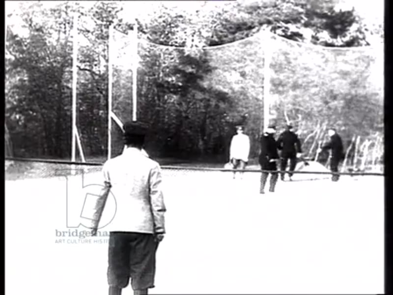 Tsar Nicholas II and other members of the Imperial Russian family play tennis while on holiday in the Gulf of Finland, 1909-11