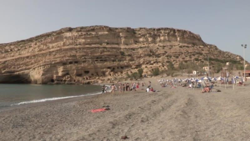 Matala Beach, Cliffs with Roman Rock-cut Tombs