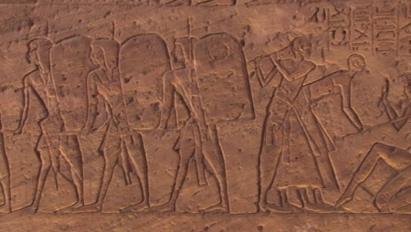 Egypt, Abu Simbel, Temple of Ramses II, Hypostyle Hall, north wall, Bas-reliefs, Egyptian soldiers