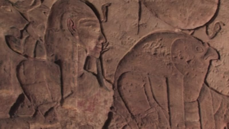 Egypt, Abu Simbel, Temple of Ramses II, Hypostyle Hall, north wall, Bas-reliefs, Sekhmet, goddess of war, Ramses II, Ra-Harakhte