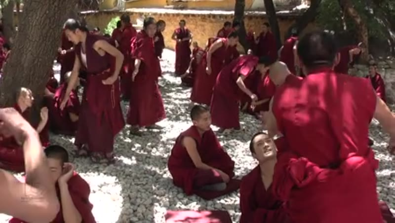 Lamas' recreation of philosophical debate in physical representation, Drepung Monastery, Lhasa, Tibet 1