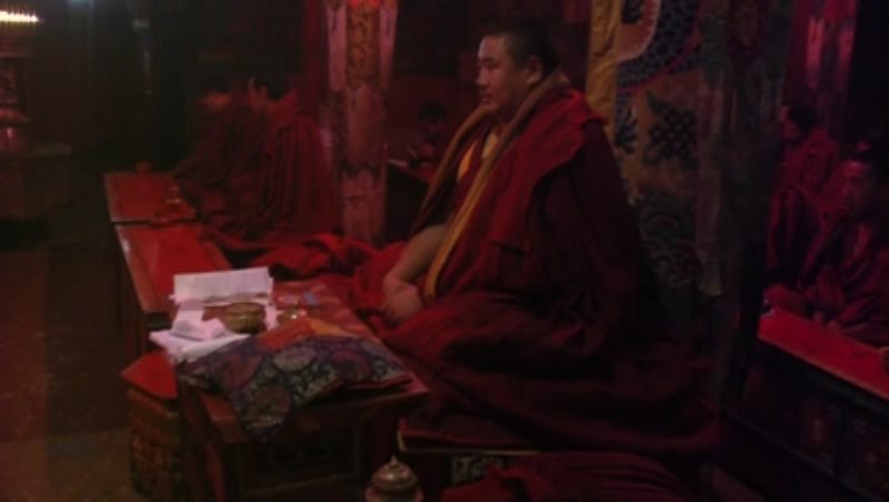 Lama in prayer, Samye Monastery, Tibet 2