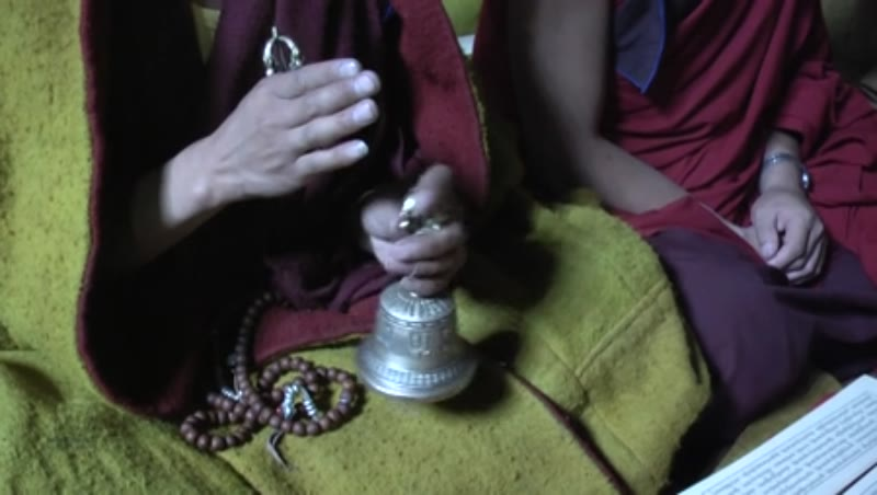 Monks praying with vajra and bells inside the main Assembly hall, Sakya Monastery, Tibet 1