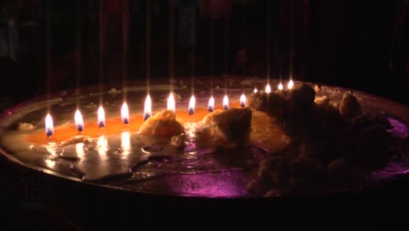 Lamps inside the Samye monastery, Tibet