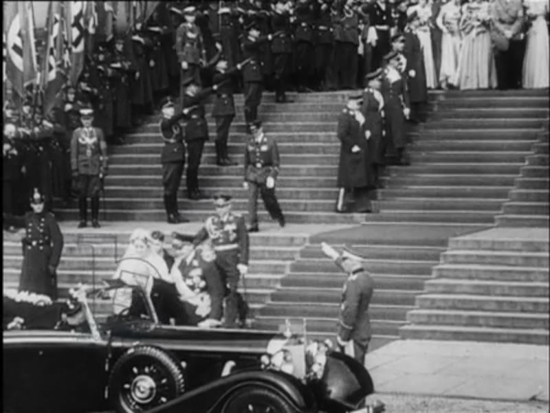 The wedding of Hermann Göring, commander in chief of the German air force. Hitler is present at the wedding.