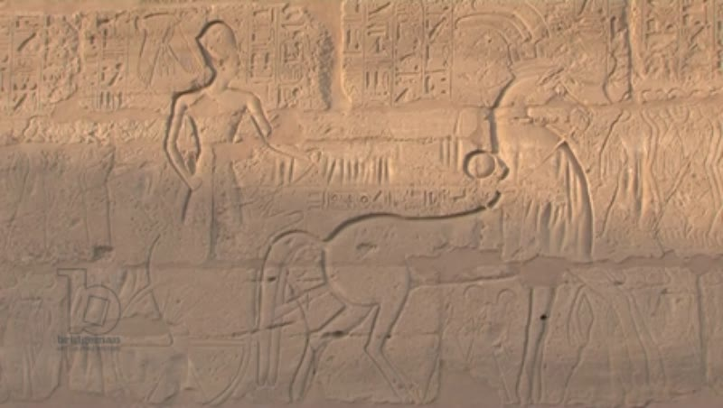 Wall carvings of chariots and drivers, Temple of Karnak