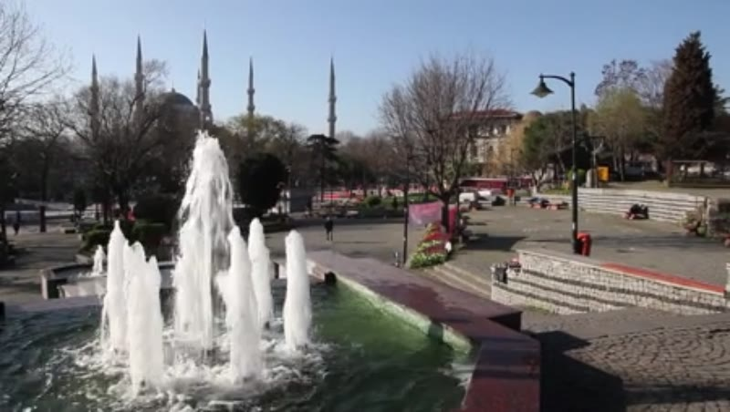 Fountain. Blue Mosque on the background