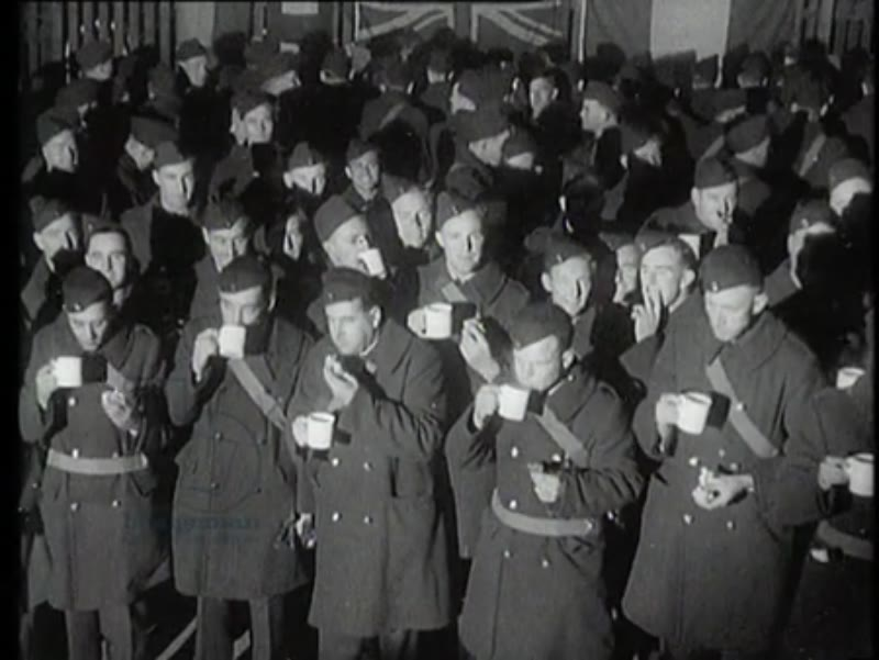 Australian pilots have come to England by boat to help the English soldiers in the war against Germany. The pilots are welcomed and receive a cup of tea. A few men give statements