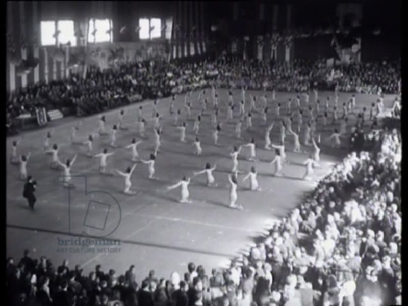 Members of the Hitler Youth and the Jeugdstorm give gymnastic performances and demonstrations of rhythmic gymnastics