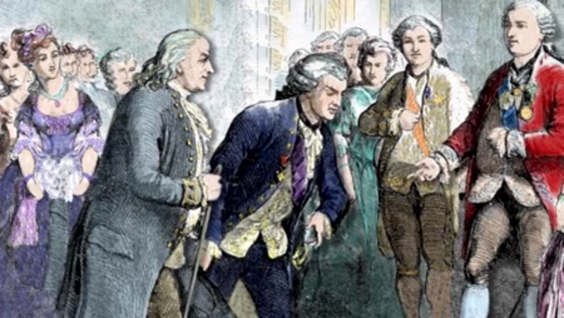 Animated illustration - Statesman and scientist. Franklin at Louis XVI and Marie Antoinette