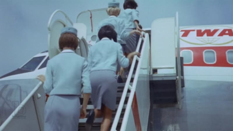 Boeing 707 flight crew boarding