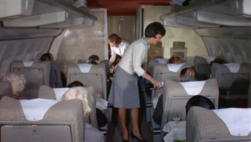 Airplane cabin interior of first class