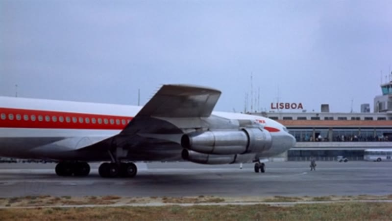 707 on tarmac near hangars, Lisbon