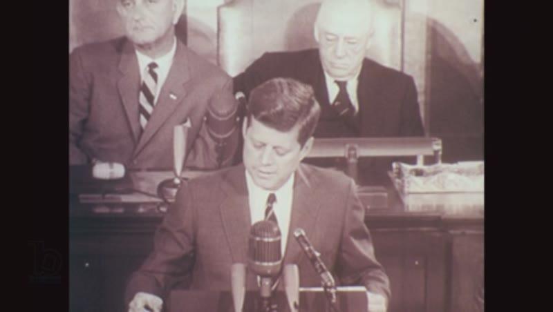 1960s: John F. Kennedy speaks at podium