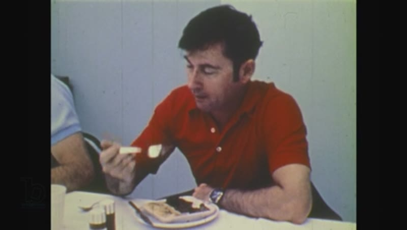 United States, 1970s: men eat breakfast