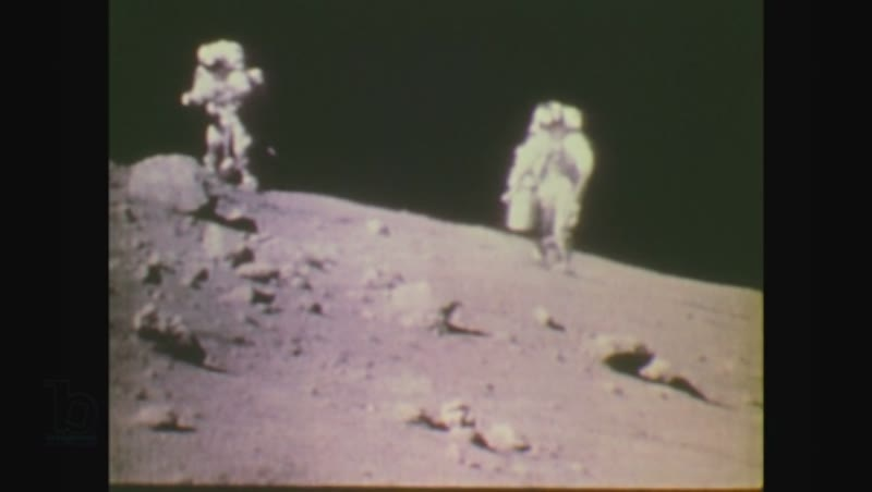 United States, 1970s: moon buggy on surface of moon