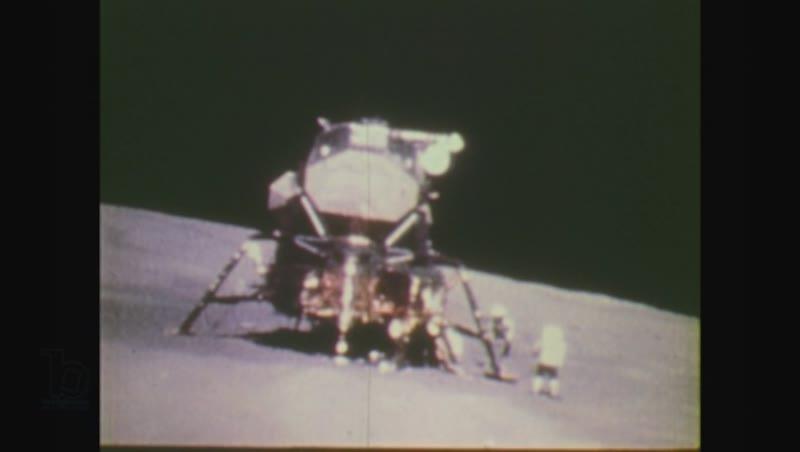 United States, 1970s: astronaut runs towards lunar module