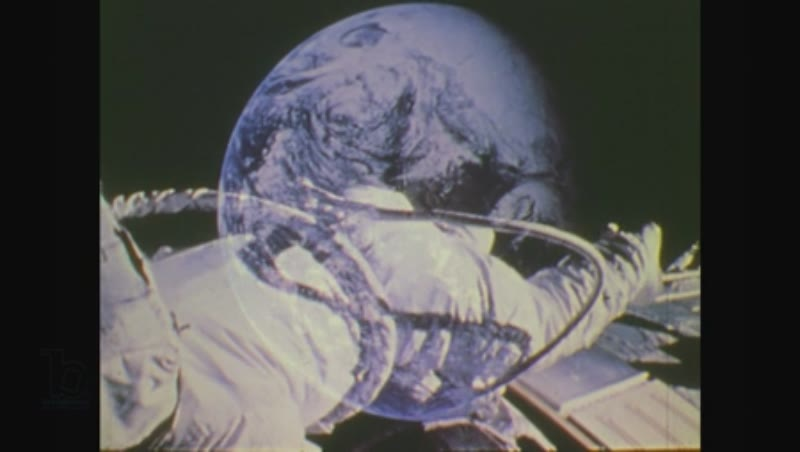 United States, 1970s: astronauts as seen from base command monitor