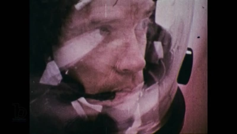 United States, 1960s: Close up of astronaut's face inside helmet