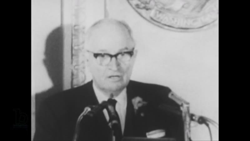 United States, 1940s: Harry Truman giving speech
