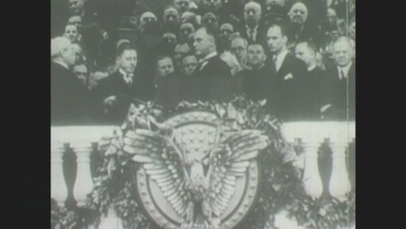 1930s: Franklin D. Roosevelt is inaugurated before crowd