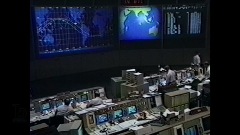 America, c.1990s: Inside of NASA mission control center