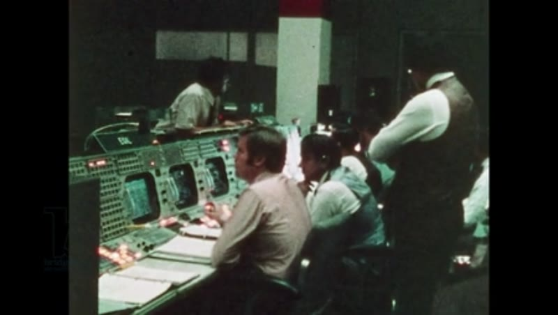 UNITED STATES: 1981: Man speaks to astronauts through headset.