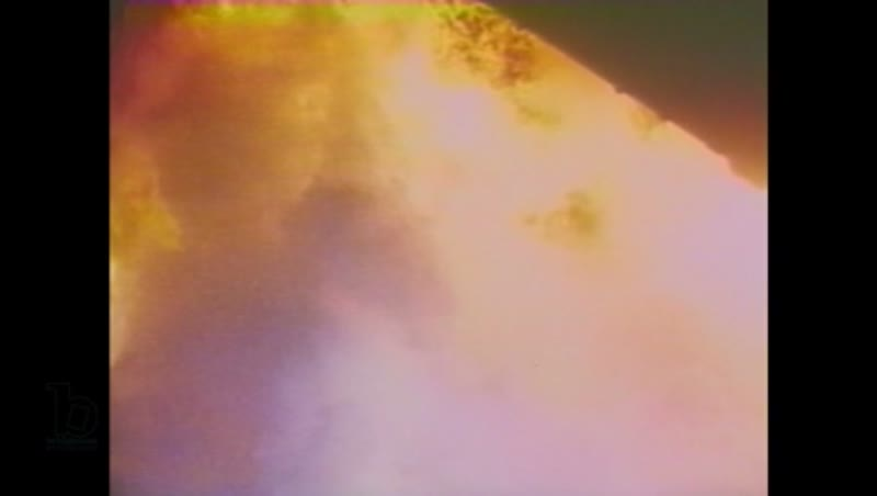 1980s: Rocket engines ignite and fire billows out