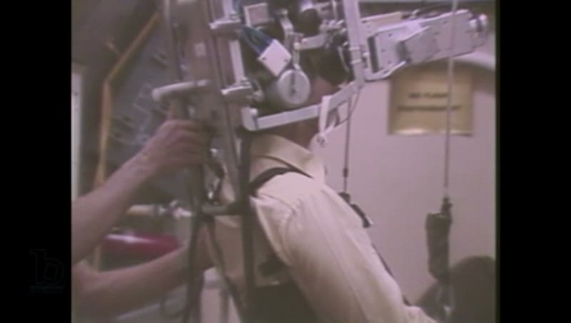 1980s: Two men are in space station simulator