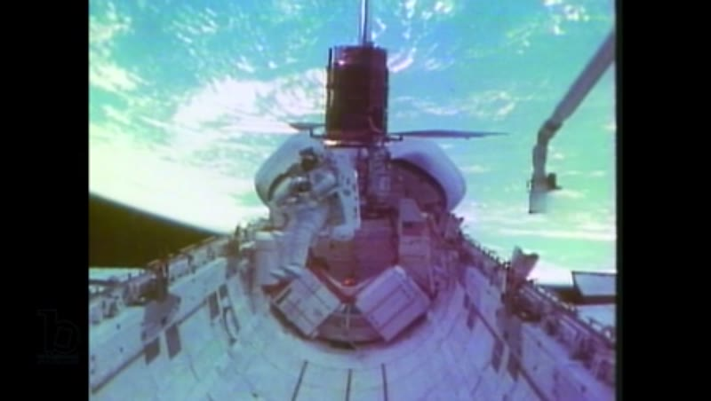 1980s: Satellite floats in space