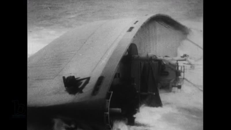 Atlantic Ocean, 1952: The ship named Flying Enterprise falls sideways in the ocean
