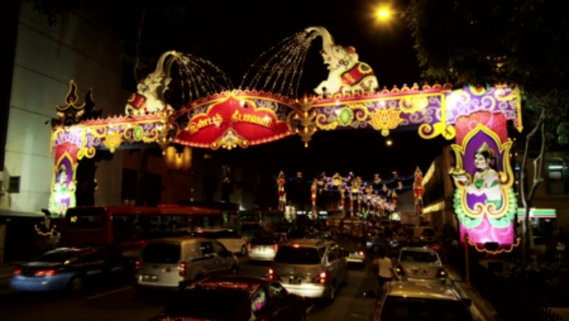 Decorations of Deepanvali (Festival of Lights) in Serangoon Rd. (Little India)
