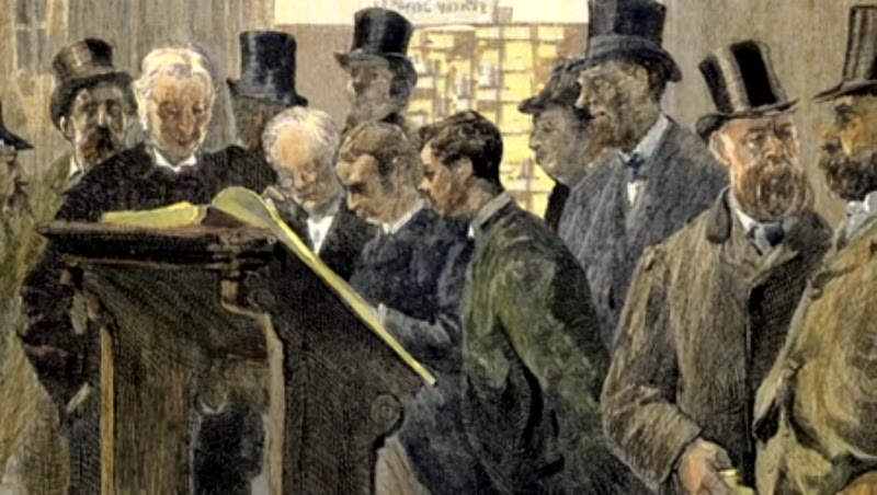 London. Shipowners and merchants consulting the Lloyd's Loss Book.
