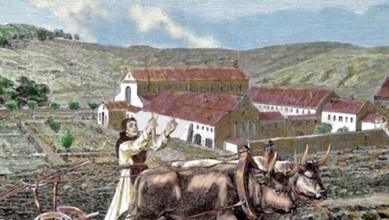 Monks ploughing the land with oxen.