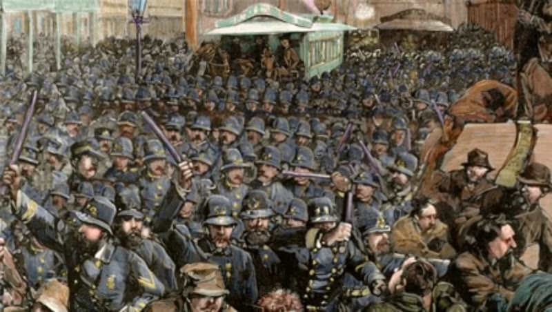 Police officers dispersing the strike of employees. New York