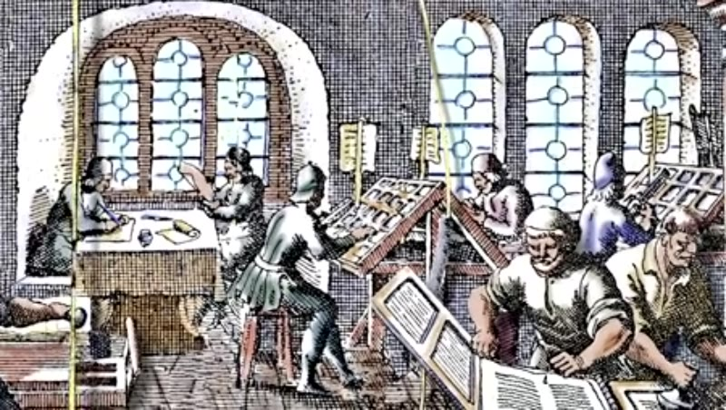 Printing press. Seventeenth century.  1619
