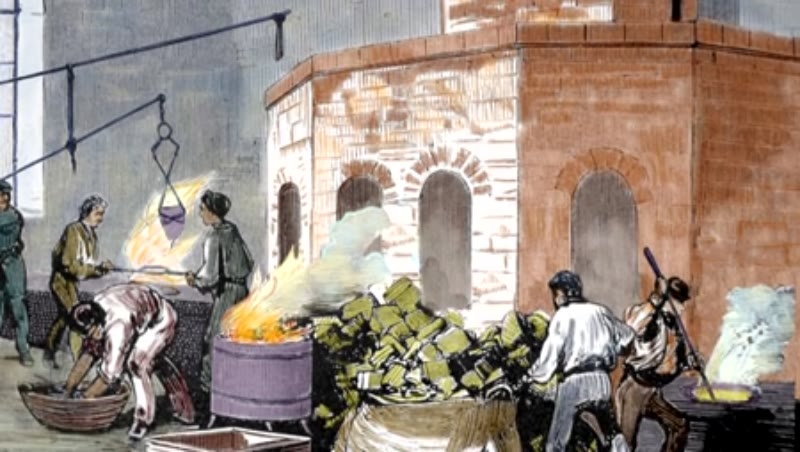 The Mint House. Workers in the smelting of gold pastes. Spain
