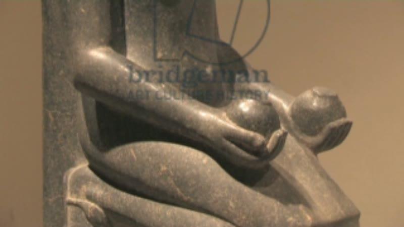 Statue of Horemheb, Luxor museum, Egypt. CU tilt
