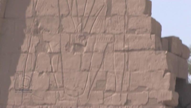 Ancient ruins and wall carvings, Temple of Konshu, Karnak