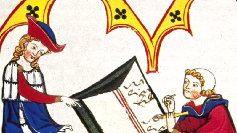 Konrad von Wurzburg dictates to a scribe. Codex Manesse